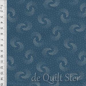COUPON Family Roots | Swirls blauw/ivoor [3553-1] 109x110cm