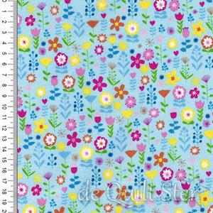 COUPON Ellie | Floral blauw [2067] 72x110cm