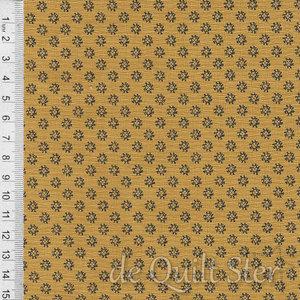 COUPON Shelbyville | Bloempje mosterd/zwart [38077-25] 104x110cm