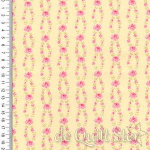 COUPON Fleurs | Trellis Roosjes roze/geel [18634-14] 92x110cm