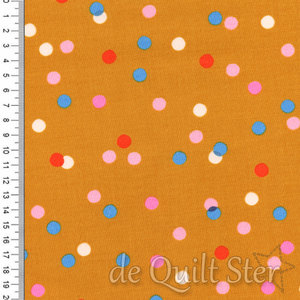 COUPON Clementine | Stippen mosterd-geel [0010-21] 58x110cm