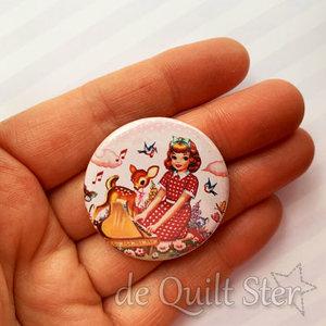 Button Vintage Meisje met piano