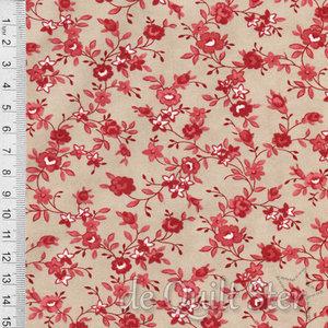 Roselyn | Bloemetjes klein tan/rood [14912-17]