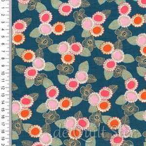 Purl | Embroidered Floral Teal Metallic [2036-14M]