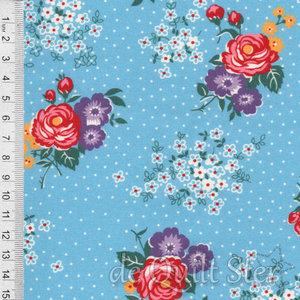 1930's Fabrics | Big Flowers blue [8756C]