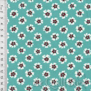 1930's Fabrics   Flower teal [8761Q]