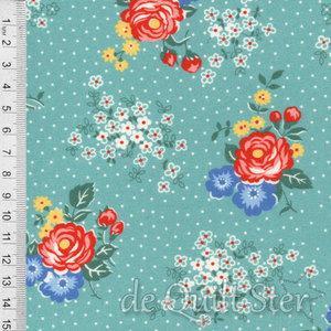 1930's Fabrics | Big Flowers teal [8756G]